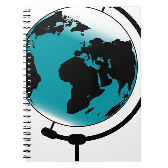 Globo montado no giro de giro caderno espiral