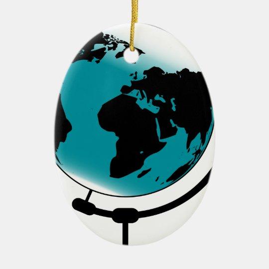 Globo montado no giro de giro ornamento de cerâmica oval