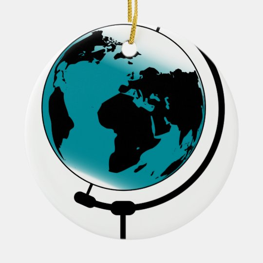 Globo montado no giro de giro ornamento de cerâmica redondo