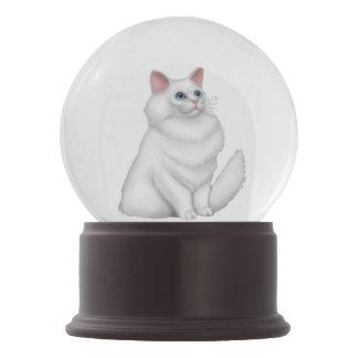 Globo persa branco da neve do gato do gatinho globo de neve