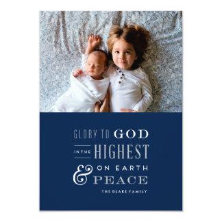 Glória ao cartão de Natal religioso do deus Convite 12.7 X 17.78cm