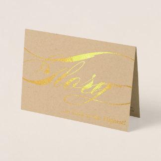 Glória ao cartão do Natal da folha de ouro do deus