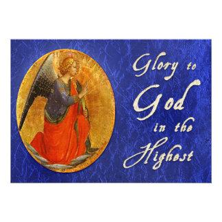 Glória ao deus no cartão de Natal o mais alto Convite Personalizado