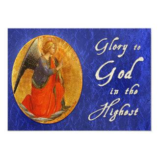 Glória ao deus no cartão de Natal o mais alto Convite 12.7 X 17.78cm