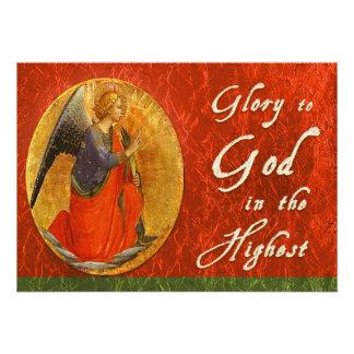 Glória ao deus no cartão de Natal o mais alto Convite Personalizados