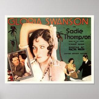 "Gloria Swanson em ""Sadie Thompson "" Pôster"