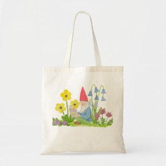 Gnomo com o saco de livro da flor bolsa para compra