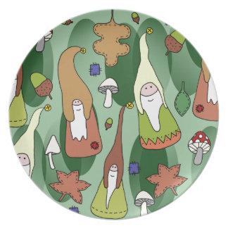 Gnomos da floresta pratos de festas