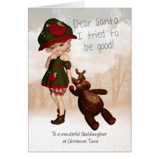 Goddaughter, cartão de Natal bonito retro do caro