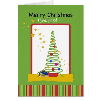 Godson, Feliz Natal com estrelas, árvore & Cartão Comemorativo