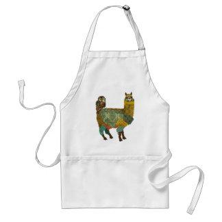 Gold Alpaca & Teal Owl Apron