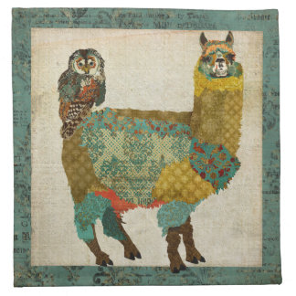 Gold Alpaca Teal Owl Napkin