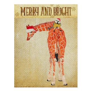 Gold Giraffe & Little Bird Christmas Postcard