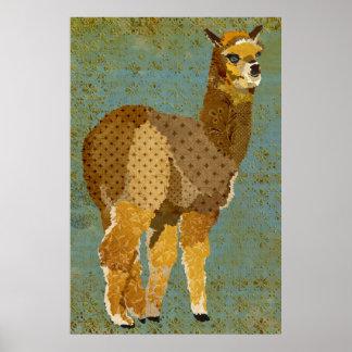 Gold Grunge Alpaca Art Poster