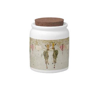 Gold & Jade Giraffes Cookie Jar Candy Jar