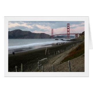 Golden gate bridge, cartão do por do sol do