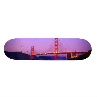 Golden gate bridge na praia do padeiro no pôr-do-s shape de skate 20cm