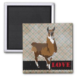 Golden Llama Love Plaid  Magnet