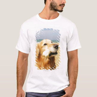 Golden retriever que come o osso camiseta