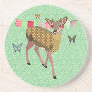 Golden Rose Deer Green Coaster