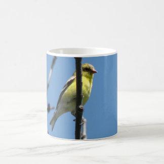 Goldfinch em uma árvore caneca de café