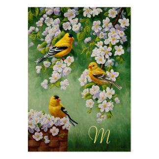 Goldfinches americanos & flores cor-de-rosa de cartão de visita grande