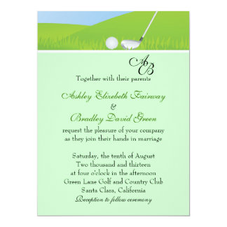 Golfball que Golfing o casamento verde do Convite 16.51 X 22.22cm
