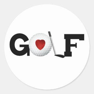 Golfe com bola de golfe adesivos redondos