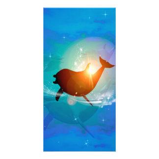 Golfinho engraçado no fundo azul com nuvens cartão com foto