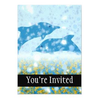 Golfinhos de Wonderous no mar Mystical Sparkling Convite 12.7 X 17.78cm