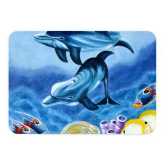 Golfinhos e arte tropical dos peixes convite 8.89 x 12.7cm