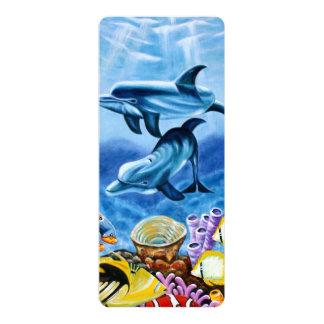 Golfinhos e arte tropical dos peixes convite 10.16 x 23.49cm