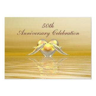 Golfinhos e coração dourados do aniversário convite 12.7 x 17.78cm