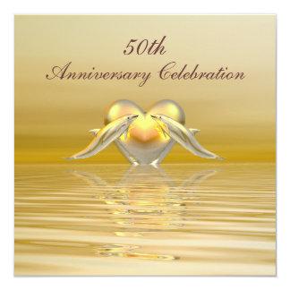 Golfinhos e coração dourados do aniversário convite quadrado 13.35 x 13.35cm