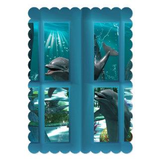 Golfinhos engraçados convite 12.7 x 17.78cm