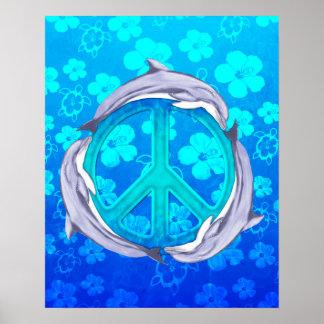 Golfinhos havaianos da paz posteres