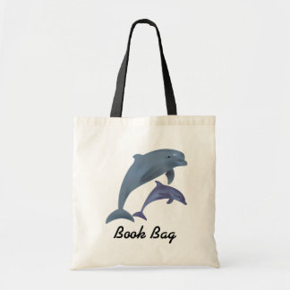Golfinhos tropicais que saltam o saco de livro sacola tote budget