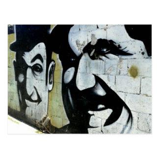 Gordo & Doof - grafitti em Espanha cartão postal -