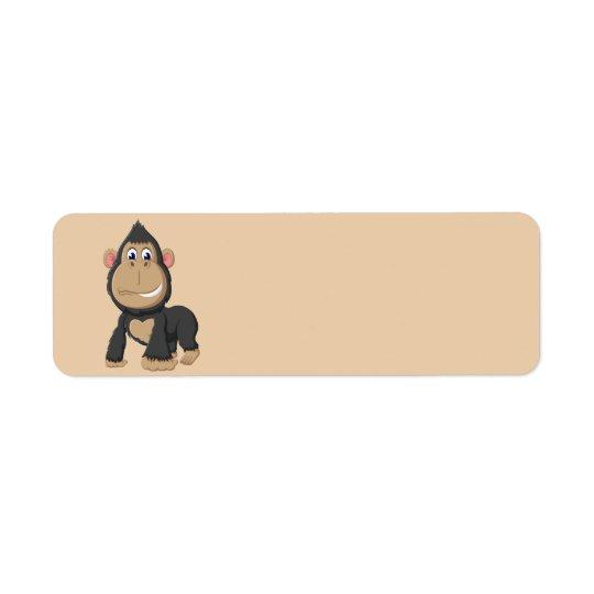 Gorila animado bonito etiqueta endereço de retorno