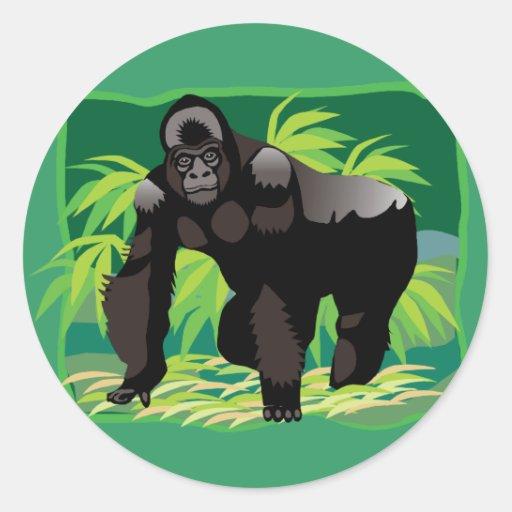 Gorila da selva adesivos redondos