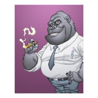 Gorila de fumo do chefe do homem de negócio do cha