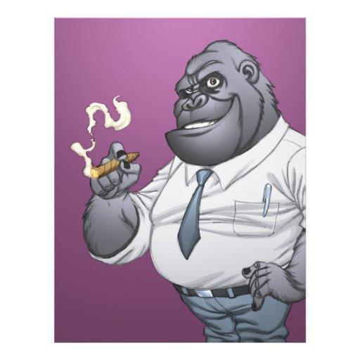 Gorila de fumo do chefe do homem de negócio do cha modelo de panfleto