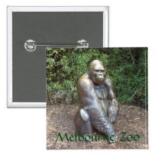 Gorila do jardim zoológico de Melbourne Bóton Quadrado 5.08cm