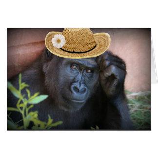 Gorila em um chapéu de palha, cartão comemorativo