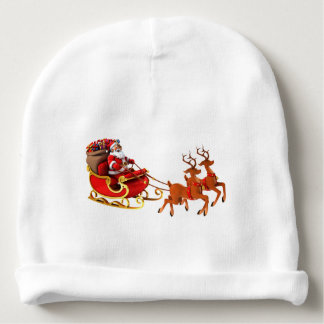 """Gorrinho para bebê """"Papai Noel e seu trenó"""" Gorro Para Bebê"""