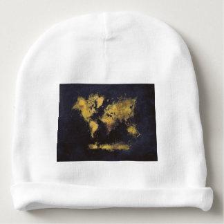 Gorro Para Bebê amarelo preto do mapa do mundo