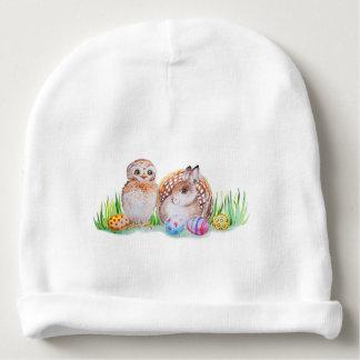 Gorro Para Bebê Arte da coruja e da páscoa do coelho