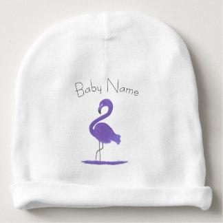 Gorro Para Bebê Arte Feathery roxa colorida adorável do flamingo