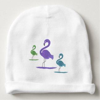 Gorro Para Bebê Arte roxa, verde, e da cerceta dos flamingos
