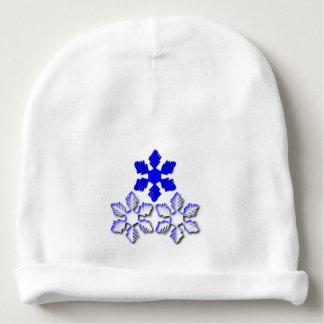 Gorro Para Bebê Beanie azul e branco do algodão do bebê dos flocos